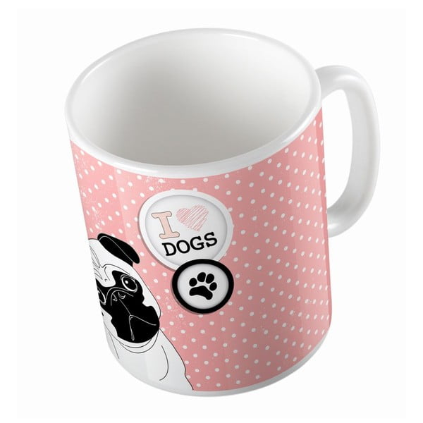 Kubek ceramiczny Butter Kings Pug In Dots, 330 ml