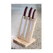 Zestaw 3 noży z drewnianym stojakiem Laguiole Isaie