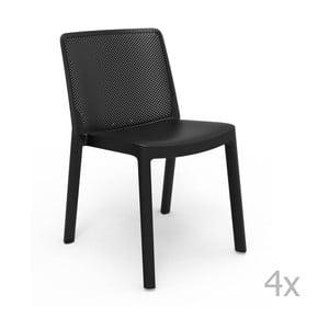 Zestaw 4 czarnych krzeseł ogrodowych Resol Fresh