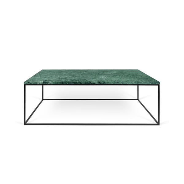 Zielony stolik marmurowy z czarnymi nogami TemaHome Gleam, 120 cm
