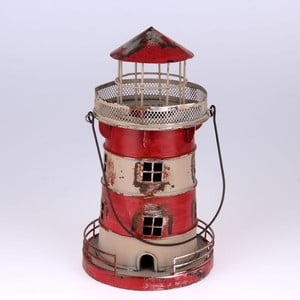 Metalowy lampion wiszący Red Lighthouse, 24 cm