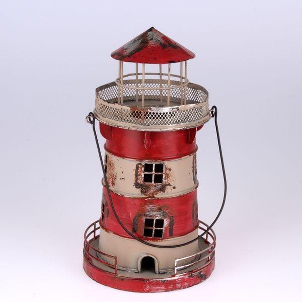 Metalowy lampion wiszący Red Lighthouse, 24 cm