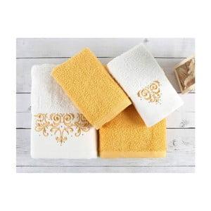Komplet 4 ręczników z bawełny premium Flossy