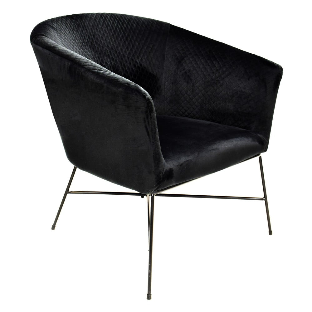 czarny fotel z aksamitnym obiciem RGE Lady
