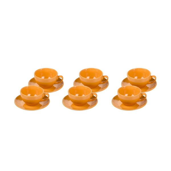Komplet 6 filiżanek z podstawkami Kaleidoskop, pomarańczowy