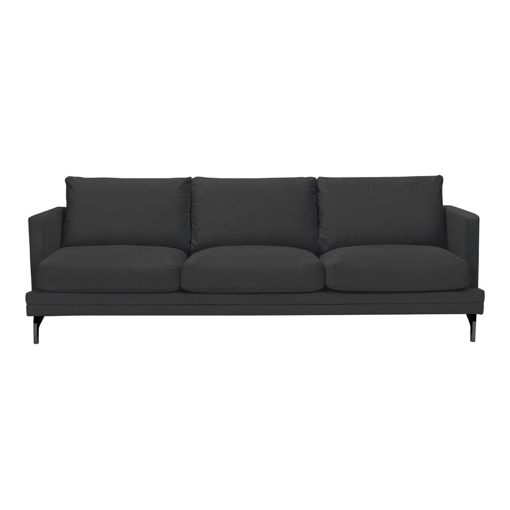 Ciemnoszara sofa 3-osobowa z czarną konstrukcją Windsor & Co Sofas Jupiter