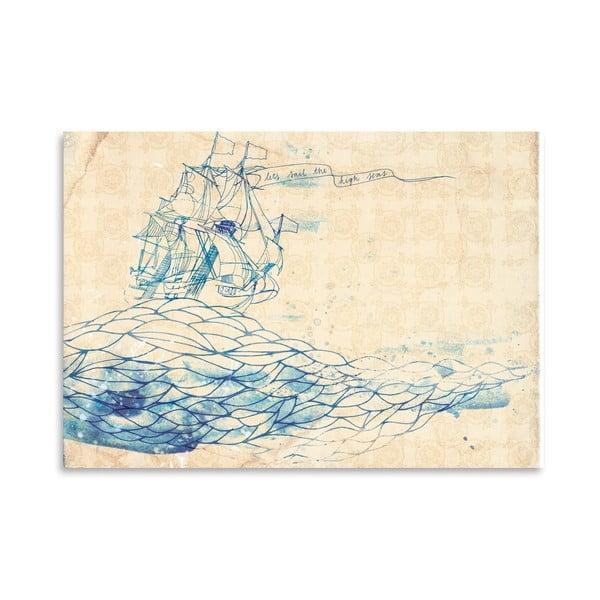 Plakat Blue Ship, 30x42 cm
