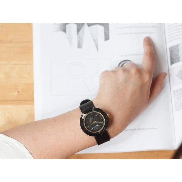 Czarny marmurkowy zegarek z czarnym paskiem Analog Watch Co. Marble