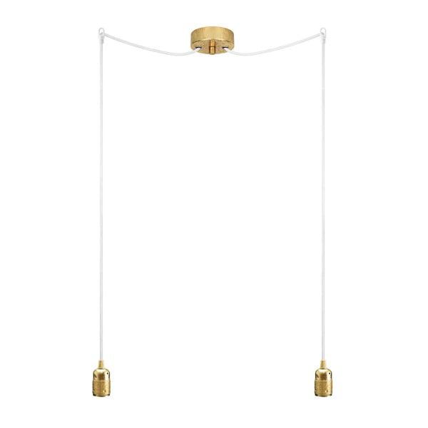 Lampa wisząca podwójna Uno, złoty/biały/złoty