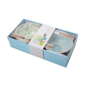 Zestaw misek z pałeczkami Tayo Blue/Green, 2 szt.