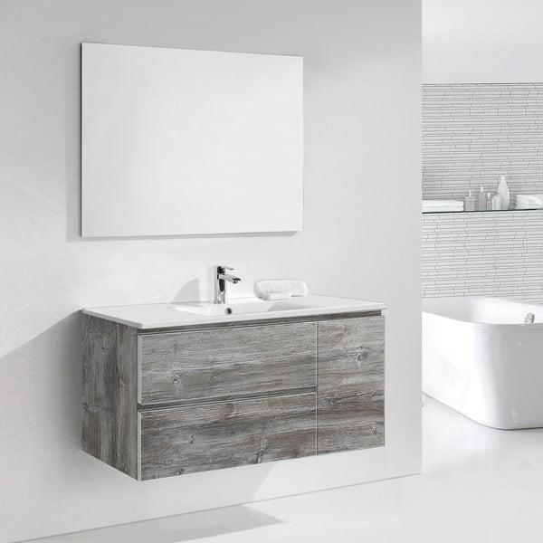 Szafka do łazienki z umywalką i lustrem Happy, motyw vintage, 120 cm