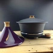 Żeliwny garnek do powolnego gotowania Netherton Foundry + tadżin, fioletowy