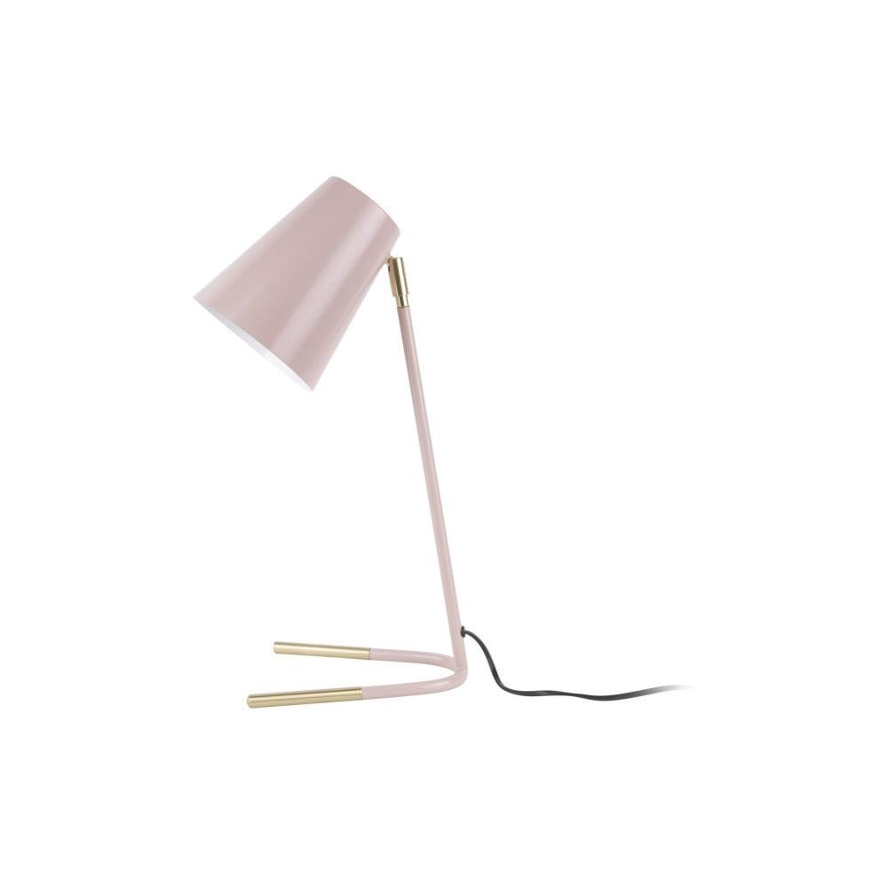 Różowa lampa stołowa z detalami w złotym kolorze Leitmotiv Noble