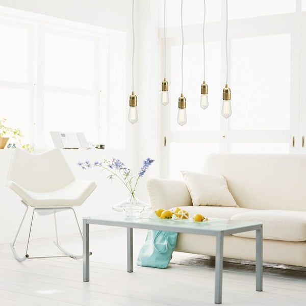 Biało-złota pięcioramienna lampa wisząca Bulb Attack Uno