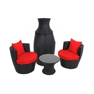 Zestaw czarnego stolika i 2 foteli ADDU Linz