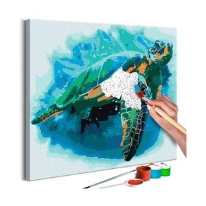 Zestaw płótna, farb i pędzli DIY Artgeist Turtle, 40x40 cm