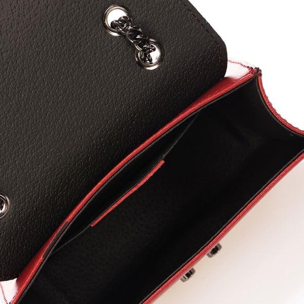 Czerwona skórzana torebka na srebrnym łańcuszku Giulia Massari