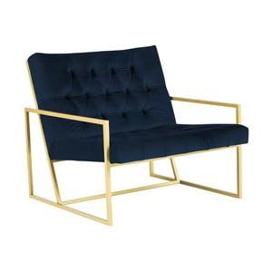 Granatowy fotel z konstrukcją w kolorze złota Mazzini Sofas Bono