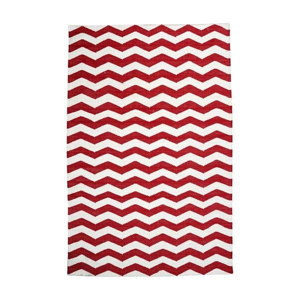 Bawełniany dywan Chevron Ivory/Red, 120x180 cm