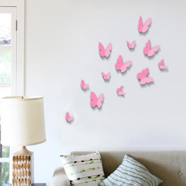 Naklejka Motyle 3D, jednokolorowe różowe