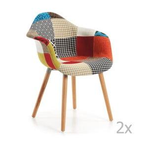 Zestaw 2 krzeseł z podłokietnikami La Forma Patchwork