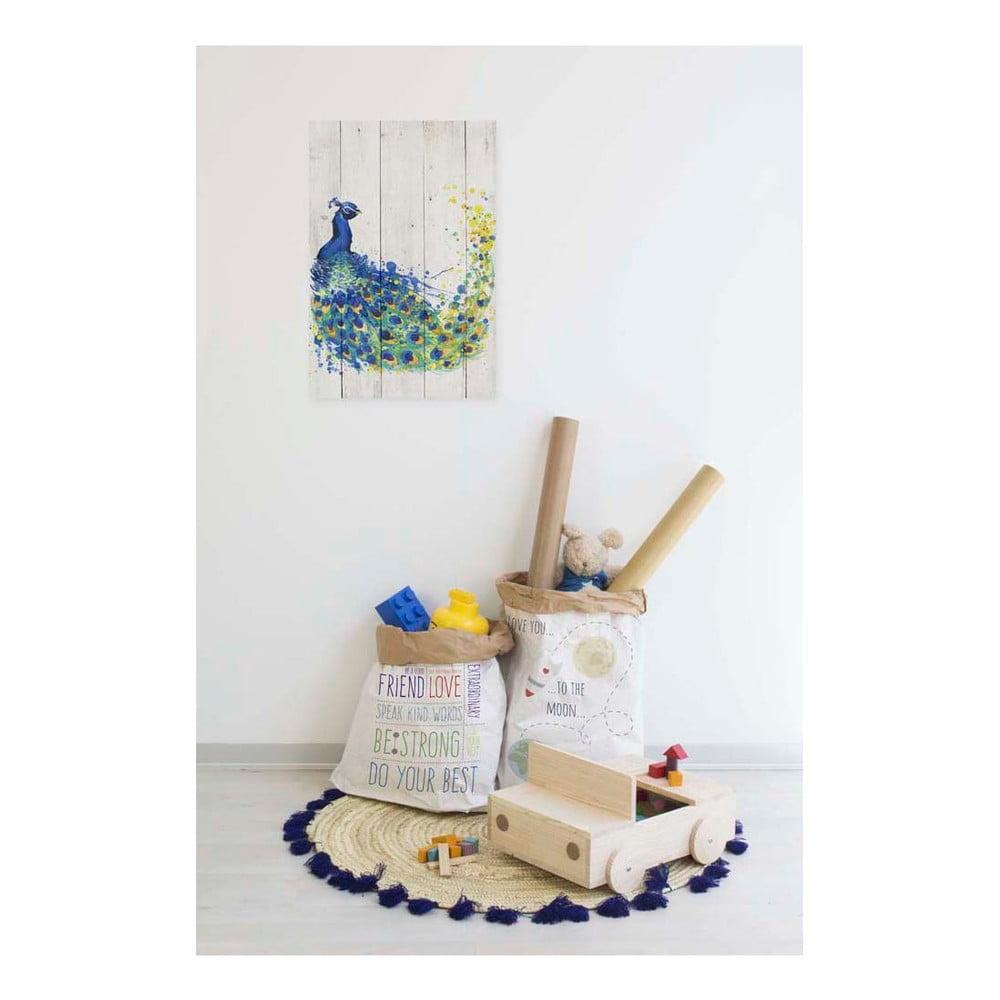 obraz na drewnie little nice things peacock 60x40 cm bonami. Black Bedroom Furniture Sets. Home Design Ideas