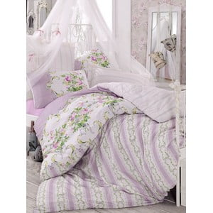 Fioletowa pościel na łóżko jednoosobowe Love Colors Loure, 160x220 cm