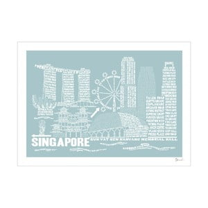 Plakat Singapore Blue&White, 50x70 cm