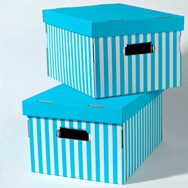 Zestaw 2 niebieskich pudełek Compactor Aqua