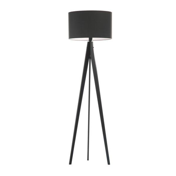 Czarna lampa stojąca Artist, czarna lakierowana brzoza, 150 cm