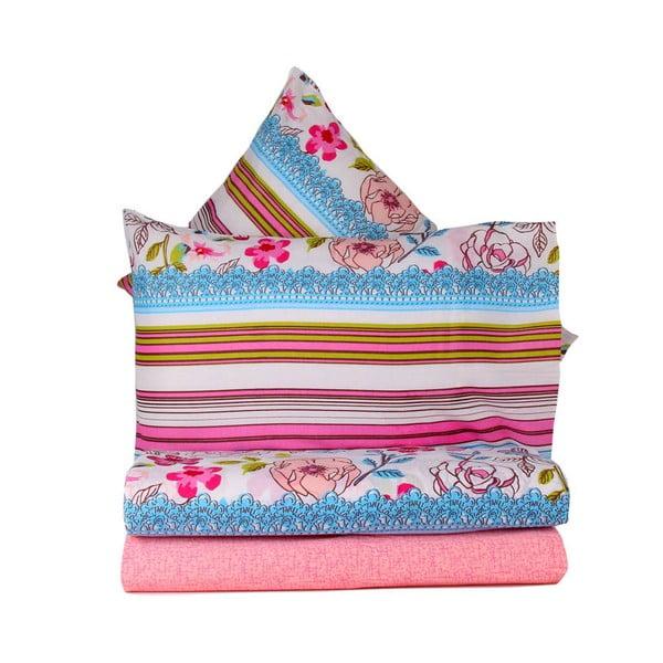 Różowa pościel na łóżko dwuosobowe z prześcieradłem  Love Colors Bloom, 200 x 220 cm
