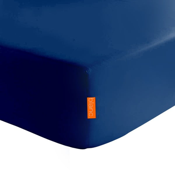 Granatowe elastyczne prześcieradło HF Living Basic, 90x200 cm