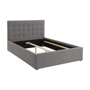 Szare łóżko dwuosobowe Støraa Ajay, 140x200cm
