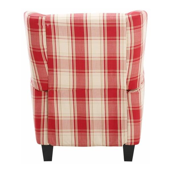 Czerwony fotel  rozkładany w kratkę Støraa Aladdin