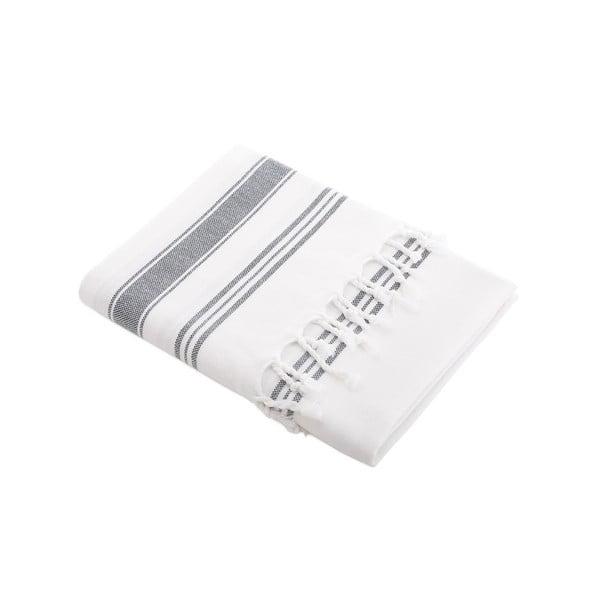 Ręcznik turecki Meryem White/Dark Slate, 95x170 cm