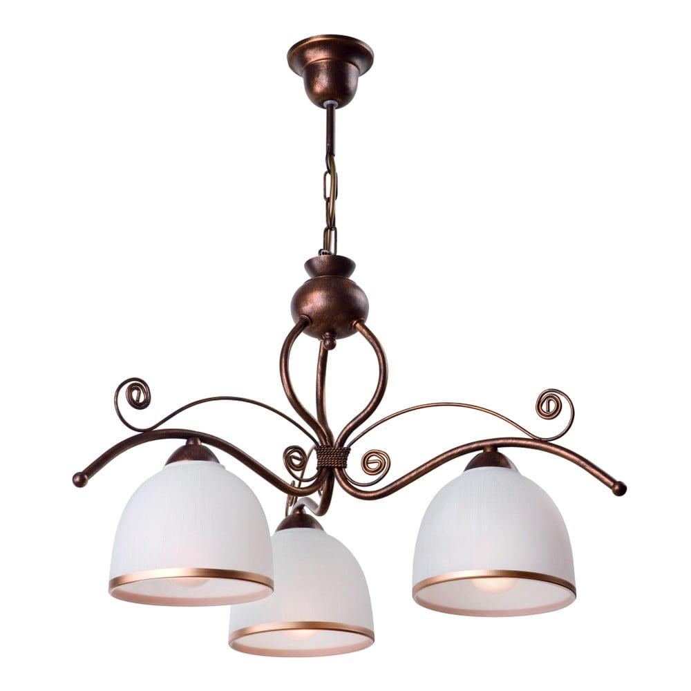 Biało-brązowa lampa wisząca na 3 żarówki Lamkur Retro