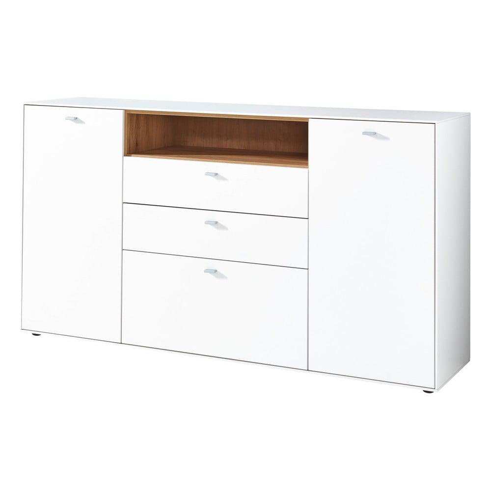 Biała komoda 2-drzwiowa z elementami z dekorem drewna dębowego Germania Design2