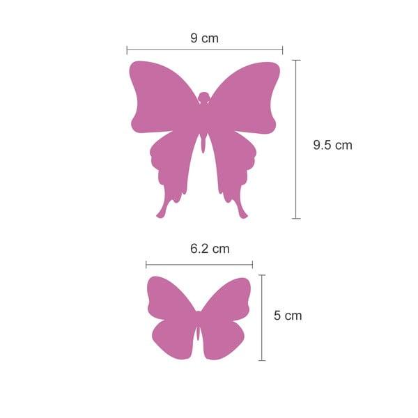 Naklejka Motyle 3D, lustrzane/różowe