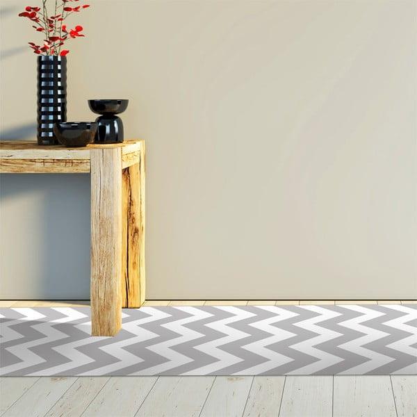 Wytrzymały dywan winylowy Zig Zag Gray, 60x200 cm