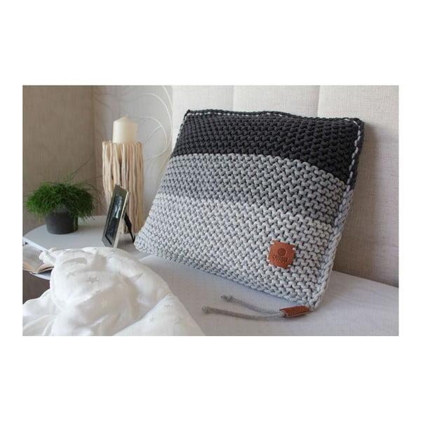 Poduszka dziergana Catness, szare pasy, 50x50 cm