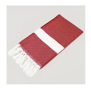 Ręcznik hammam Diamond Style Red & White, 100x180 cm
