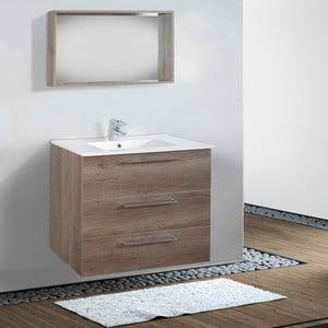 Szafka do łazienki z umywalką i lustrem Darwin, motyw dębu, 80 cm