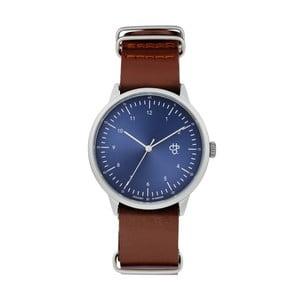 Zegarek z brązowym paskiem i niebieskim cyferblatem CHPO Harold