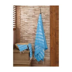 Zestaw 2 jasnoniebieskich ręczników Hammam Sultan
