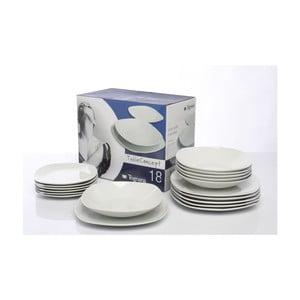 Komplet porcelanowych talerzy White, 18 sztuk