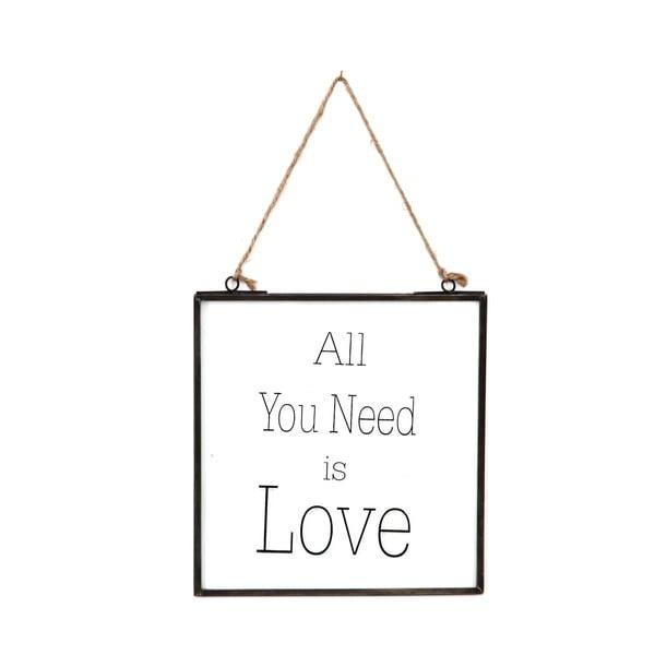 Szklana tabliczka z napisem All You Need, 20x22 cm