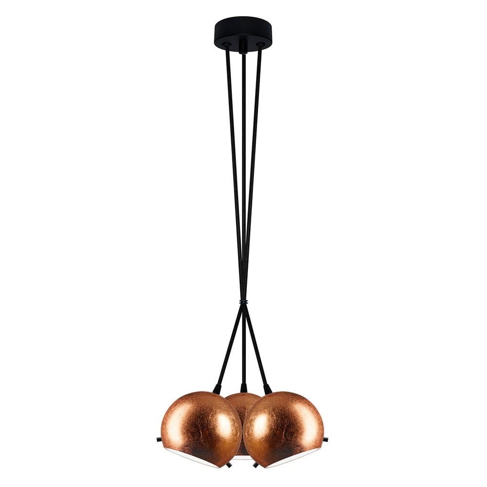Czarno-miedziana potrójna lampa wisząca Sotto Luce MYOO Elementary 3BS