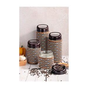 Zestaw 4 pojemników szklanych z wieczkiem Kutahya