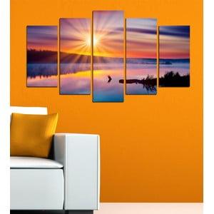 5-częściowy obraz Słońce nad jeziorem