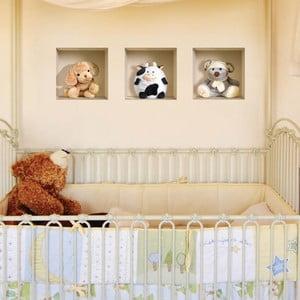Naklejki na ścianę 3D Teddy, 3 szt.